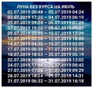 Луна без курса 2019 июль